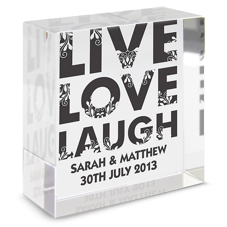 Personalised Medium Crystal Token - Live Love Laugh Design - Product number 1997394