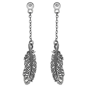 Hot Diamonds Sterling Silver Feather Drop Earrings - Product number 1997602