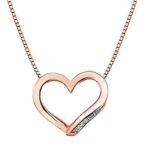 Hot Diamonds Simply Sparkle Rose-Gold Plated Heart Pendant - Product number 1998315
