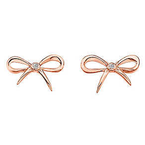 Hot Diamonds Flourish Rose Gold-Plated Bow Stud Earrings - Product number 1998404