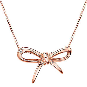 Hot Diamonds Flourish Rose Gold-Plated Bow Necklace - Product number 1998412