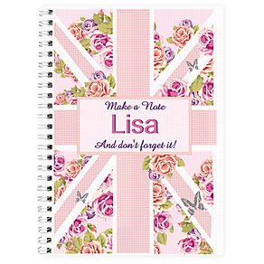 Personalised A5 Notebook - Floral Union Jack Design - Product number 1998854