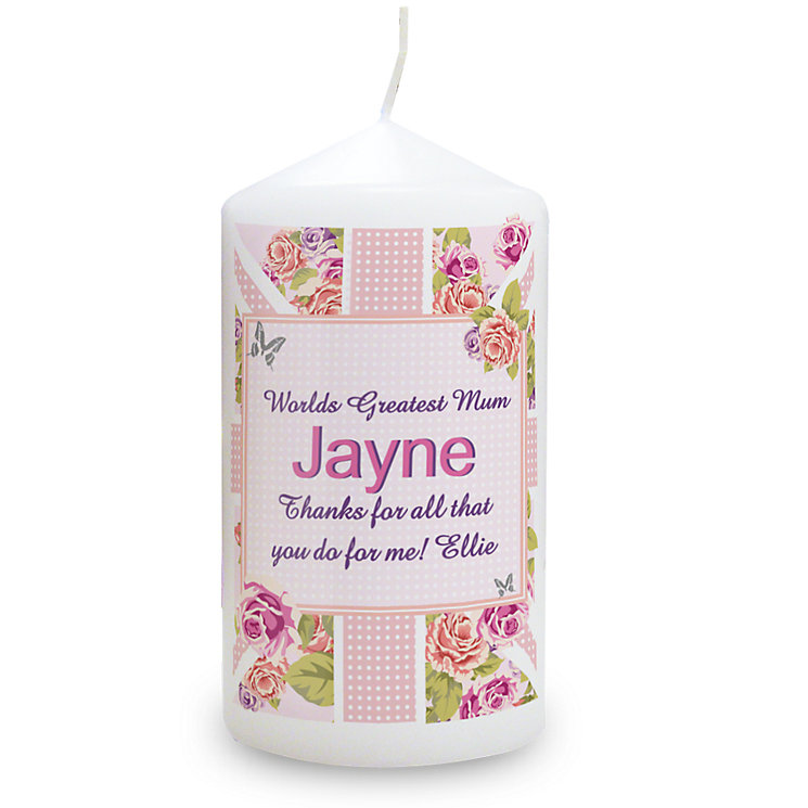 Personalised Candle - Floral Union Jack Design - Product number 1998897