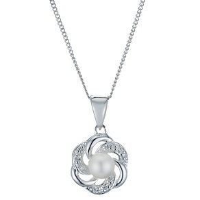 Sterling Silver Cultured Freshwater Pearl Flower Pendant - Product number 1999435