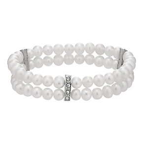 Two Strand Cultured Freshwater Pearl Crystal Bracelet - Product number 1999486