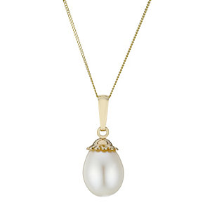 9ct Gold Fluted Cap Cultured Freshwater Pearl Pendant - Product number 1999540