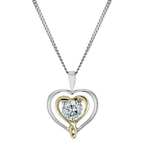 "Sterling Silver & 9ct Gold Double Heart 18"" Pendant - Product number 2000865"