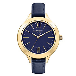Caravelle New York Ladies' Blue Leather Strap Watch - Product number 2001292
