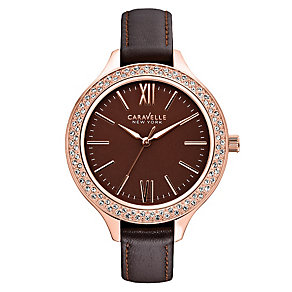 Caravelle New York Ladies' Brown Leather Strap Watch - Product number 2001314