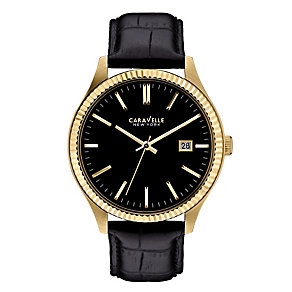 Caravelle New York Men's Black Leather Strap Watch - Product number 2002140