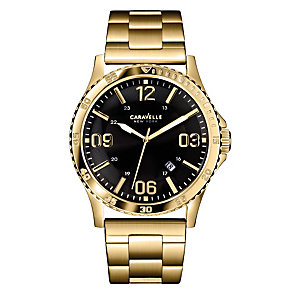 Caravelle New York Men's Sports Gold-Plated Bracelet Watch - Product number 2002256