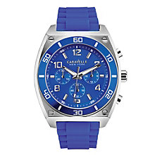 Caravelle New York Men's Sports Blue Silicone Strap Watch - Product number 2002582