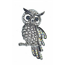 Stone Set Antique Finish Owl Brooch - Product number 2004674