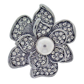 Pearl & Stone Set Flower Brooch - Product number 2004712