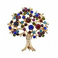 Yellow Gold Plated Multi Colour Crystal Tree Brooch - Product number 2004747