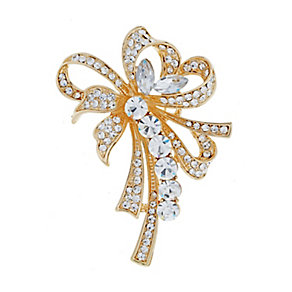 Yellow Gold Plated Crystal Set Looped Ribbon Brooch - Product number 2004755