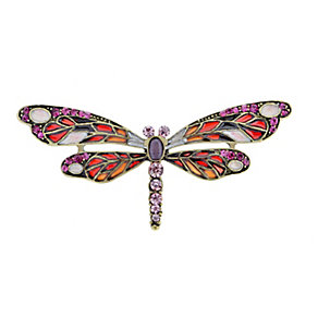 Pink and Purple Stone Set Dragonfly Brooch - Product number 2004763
