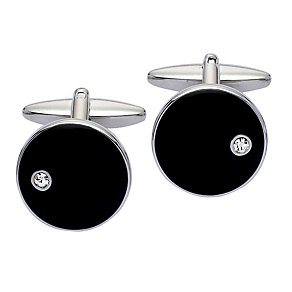Stainless Steel & Black Enamel Diamond Set Round Cufflinks - Product number 2004917