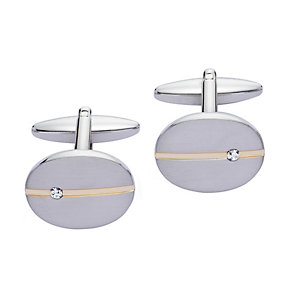 Brushed Stainless Steel Oval Gold Line Diamond Set Cufflinks - Product number 2004941