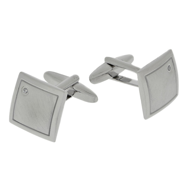 Men's Brushed & Polished Square Diamond Cufflinks - Product number 2005123