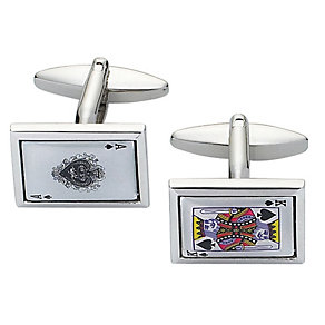 Stainless Steel Ace & King Playing Card Cufflinks - Product number 2005247