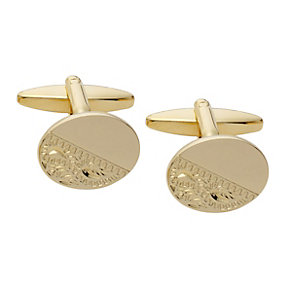 Gold-Plated Engraved Oval Cufflinks - Product number 2005433