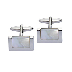 Stainless Steel Mother Of Pearl Rectangular Cufflinks - Product number 2005441