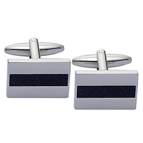 Stainless Steel Blue Goldstone Strip Rectangular Cufflinks - Product number 2005522