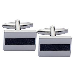 Stainless Steel Blue Goldstone Strip Rectangular Cufflinks - Product number 2005522