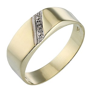 9ct Gold Diamond-set Oblong Signet Ring