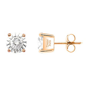 Tresor Paris 18ct rose gold-plated 8mm stud earrings - Product number 2013096