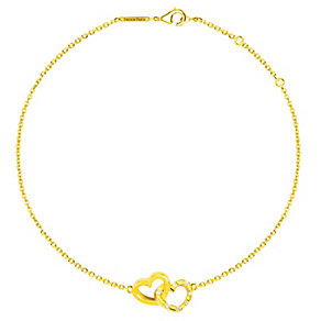 Tresor Paris 18ct gold-plated double heart bracelet - Product number 2013886