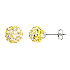 Tresor Paris 18ct gold-plated 8mm crystal stud earrings - Product number 2013932