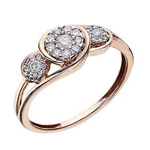9ct Rose Gold 1/4 Carat Diamond Round Cluster Ring - Product number 2016397