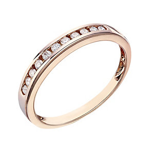 9ct Rose Gold 15 Point Channel Set Diamond Eternity Ring - Product number 2016680