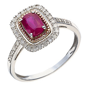 Silver & 9ct Rose Gold Treated Ruby & Diamond Ring - Product number 2016826