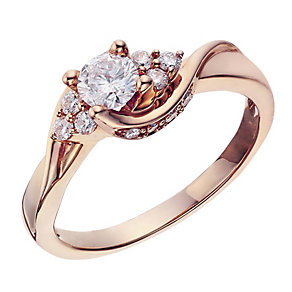 18ct Rose Gold 0.50 Carat Diamond Twist Solitaire Ring - Product number 2016958