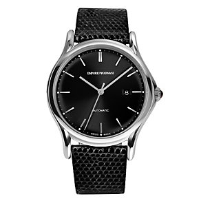 Emporio Armani Swiss Made men's black leather strap watch - Product number 2018020