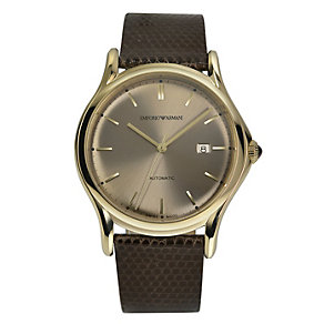 Emporio Armani Swiss Made men's brown leather strap watch - Product number 2018047