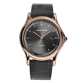 Emporio Armani Swiss Made men's black leather strap watch - Product number 2018055