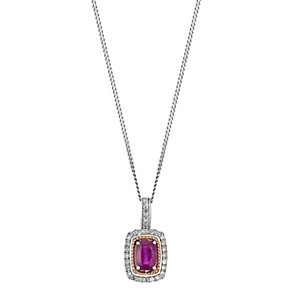 Silver & 9ct Rose Gold Treated Ruby & Diamond Pendant - Product number 2018446