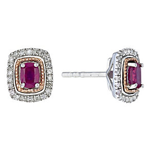 Silver & 9ct Rose Gold Treated Ruby & Diamond Stud Earrings - Product number 2018454
