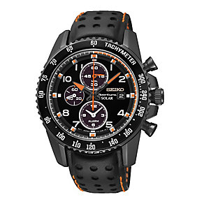 Seiko Sport men's black ion-plated black leather strap watch - Product number 2018896