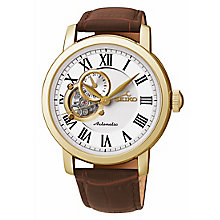 Seiko men's brown leather strap watch - Product number 2018926