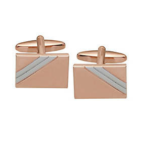 Rose Gold-Plated & Rhodium-Plated Strip Detail Cufflinks - Product number 2018942