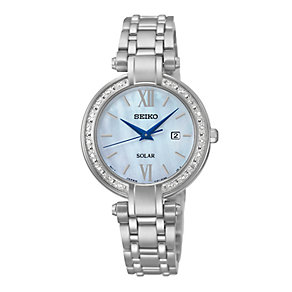 Seiko Solar ladies' stainless steel diamond bracelet watch - Product number 2019167