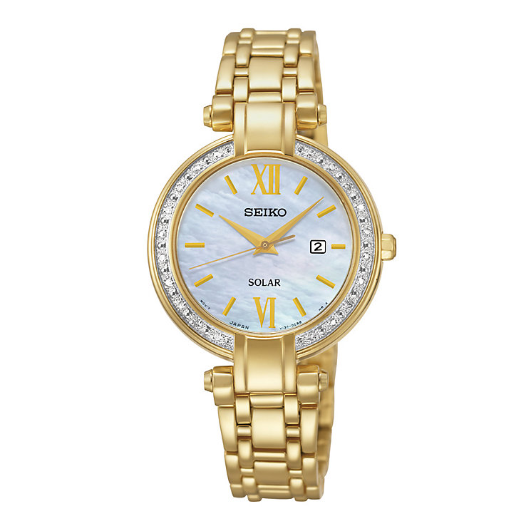 Seiko Solar ladies' gold-plated diamond bracelet watch - Product number 2019175