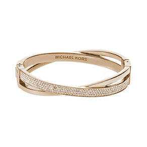Michael Kors stone set rose gold-plated crossover bangle - Product number 2021420