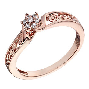 Cherished 9ct Rose Gold Diamond Flower Ring - Product number 2022206