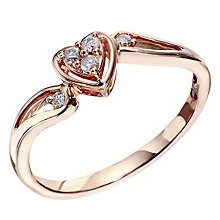 Cherished 9ct Rose Gold Diamond Heart Cluster Ring - Product number 2022346